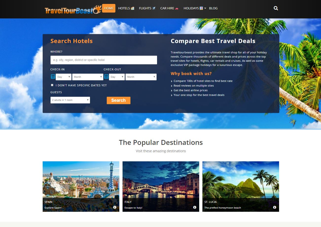 Search vacation deals by destination